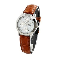 Latest Popular CASIO Red Genuine Leather Men Quartz Stainless Steel  Watch MTP-1192E-7A with mutli-movement
