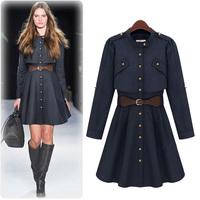 European and American style fashion women's Slim long-sleeved windbreaker and long sections windbreaker jacket