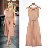 Sleeveless nude top vest dress long fashion dress child summer dress