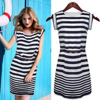 Navy stripe chiffon skirt summer fashion normic short-sleeve mid waist Women fashion one-piece dress summer 1004