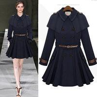 High quality turn-down collar cloak long-sleeve slim high quality trench