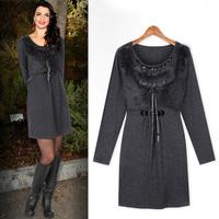 Xrui autumn ol women's slim quality patchwork one-piece dress 724