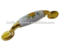 Yelow rose ceramic handle knob bathroom accessory wholesale and retail shipping discount 50pcs/lot A42-BGP