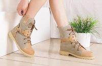 free shipping,2012 spring and autumn boots,rivet boots, color block decoration boots,martin boots,lacing low-heeled winter boots