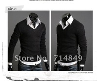 Men cotton cultivation sweater V neck bottoming shirt Free shipping polo cardigan sweater for men fashion cashmere sweaters