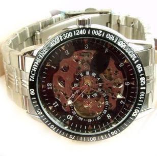 Silver large dial vintage cutout mechanical watch male watch steel strip mens watch 2