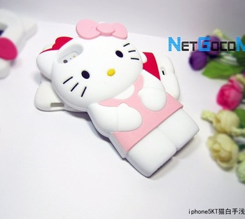 Pink 3D Cute Hello Kitty TPU Soft Silicone Back Case Cover Skin for Phone 5th 5