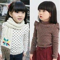 Retail baby children girls fashion dot shirt sweatershirt hoody T-shirts baby clothing 1-7 year brown white T45 free shipping