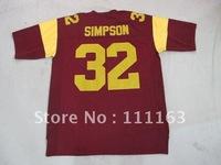 Wholesale -USC Trojans #32 O.J Simpson  Garnet,White NCAA Colleg Football  Jersey size:48~56+Free Shipping
