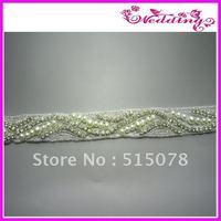 """Silver Crystal Clear Rhinestone Applique Embellishment 1.0"""" Bridal Sash :)"""