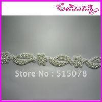 Wedding Rhinestone Glass Made by Hand Applique Bridal Embellishment