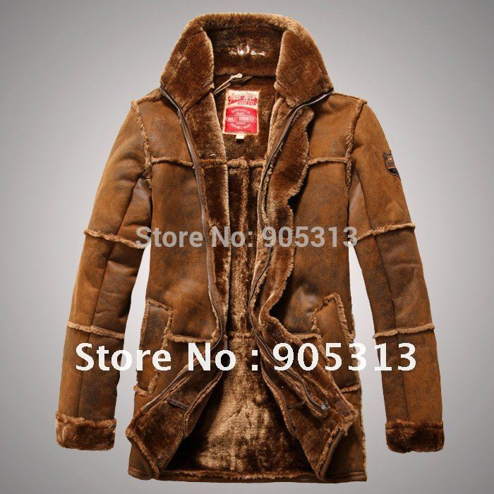 Brand New Men beige gray brown Shearling SHEEPSKIN Suede Leather Fur zipprd Coat warm winter Jacket(China (Mainland))
