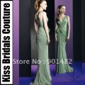 Free Shipping Cost E020 2013 New Fashion V Neck Green Long Chiffon Zuhair Murad Evening Dress