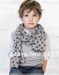 Free shipping Retail&amp;wholesale 2013 fashion scarf baby skull head scarves,double-deck scarf boys cotton scar kids scarf gift(China (Mainland))