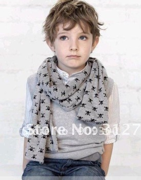 Free shipping Retail&wholesale 2013 fashion scarf baby skull head scarves,double-deck scarf boys cotton scar kids scarf gift