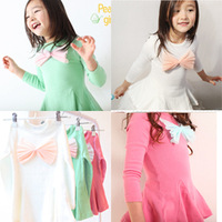 Free Shipping Children's clothing  autumn female child baby gauze big bow long-sleeve dress