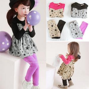 Free Shipping Children's clothing  female child little girl autumn baby gentlewomen princess dress long-sleeve dress legging set