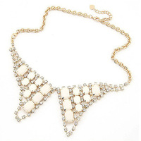 free shipping vintage flower necklace bling all-match  collar necklace short design triangle combination