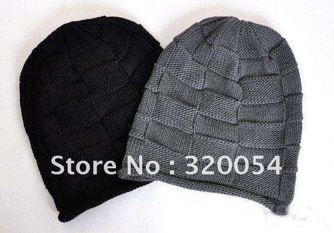 1pcs 2012 Korean Grid men shag line caps winter fashion knitted hats for men and women