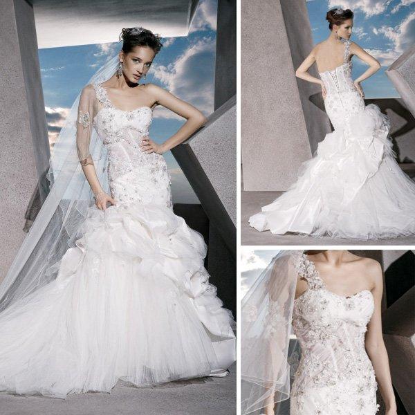 WD082 Appliques See Through Corset Designer One Shoulder Wedding Dresses Merm