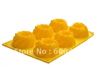 50pcs/lot  6 Mini Celebration Swirl Bunt Ring Silicone Cake Mould Bakeware Pan Dessert Mold Bakeware Mold DIY Free Shipping