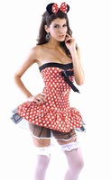1Piece Free Shipping, 2012 Halloween MICKEY Dress, Red, Free Size, Sleeveless, 0.18Kg/Piece, Halloween Clothing FWO10039