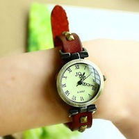 Christmas Gift  2012 New bracelet watch Red Genuine Cow leather Vintage Roman Women watch ladies KOW017  Min order=15usd