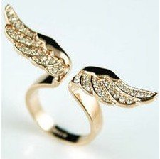 Unique Punk Gothic Angel Wings Ring 2pcs/Lot Free Shipping Z-K4008(China (Mainland))