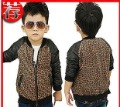 2012 autumn) han2 ban3 boy leopard grain splicing leather coat children's coat wholesale children's wear