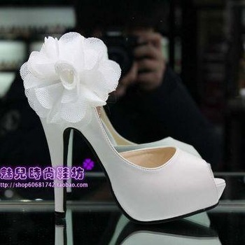 Women's sandals white open toe high-heeled  flower platform wedding shoes