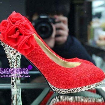 Women's  gold red high-heeled  platform flower wedding shoes