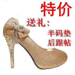 2012 new arrival women's  gold  wedding platform high heels bow wedding shoes