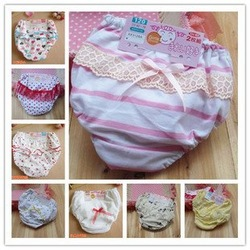 Free Shipping Children Underwear Girl&#39;s Panties Cute Cotton Baby Panties Children Lace Underwear For Girl EC-13(China (Mainland))