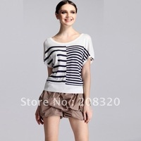 Women's T-shirt Black and White Striped T-shirt Cotton Sweater Short Sleeve T-shirt Fashion Sweater Size:(M/L)
