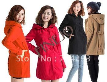 Korea Women's Slim Fit Double-breasted Hoody Coat Jacket Outwear Overcoat free shopping 7821