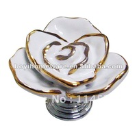 Unique hand made ceramic rose new design flower kid's dresser drawer cabinet knobs wholesale and retail MJ1