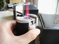 Cigarette Lighter Luxury Cohiba Quadruple Torch Flame Leather Cigar Lighter (Free Shipping) black/brown