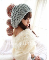 Free Shipping 2012 Popular Girl Knitting Winter Hat  winter accessory  jacquard knitted hat