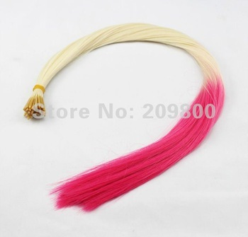 "Free shipping 100pcs/set 16""  Gradient Ombre Style feather Synthetic Hair Extension for you nice hair,mix-colors"