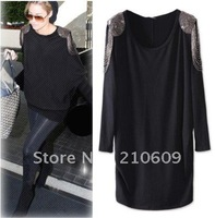 western loose rivet bead medal shoulder o collar bat sleeve loose large size long T-shirt
