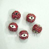 Free Ship 8mm Red Shamballa Enamel Crystal Rhinestone Pave Disco Evil Eye Diy Round Ball Beads fit Charm Bracelet Wholesale