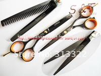 """5.5"""" Black Color Classical 440C High Quality Beauty Hair Cutting Scissors,Hairdressing Shears,Razor Scissors+Thinning Shears"""