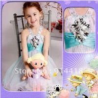 Wholesale Price Best Seller Halter Beading Mini Organza Christmas Dress Children