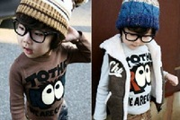 promotion children boys girls fashion cartoon shirts hoody big eyes tshirt brown gray free shipping+retail