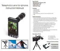Optical Zoom Lens Mobile Phone 12X Telescope for iPhone 4G/4S-Black