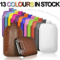 50X Newest Cord Pull PU Leather Pouch Case Cover For iPhone 5 5G,Free Shipping