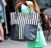HOT SALING!  Fashion big bags black knitted women's handbag  women's messenger leather bag free shipping