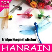 Hot Sale 10pcs/lot Mixed Color Hanicrafted Dragonfly Fridge Magnet sticker for Home Decoration Flower Stake