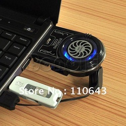 Mini Vacuum Case USB Laptop Cooler Notebook Cooling Fan idea FYD-738 with Blue LED Light Free Shipping 1450(China (Mainland))