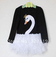 baby girls princess swan dress long sleeve ball gown dress children spring autumn clothing free shipping